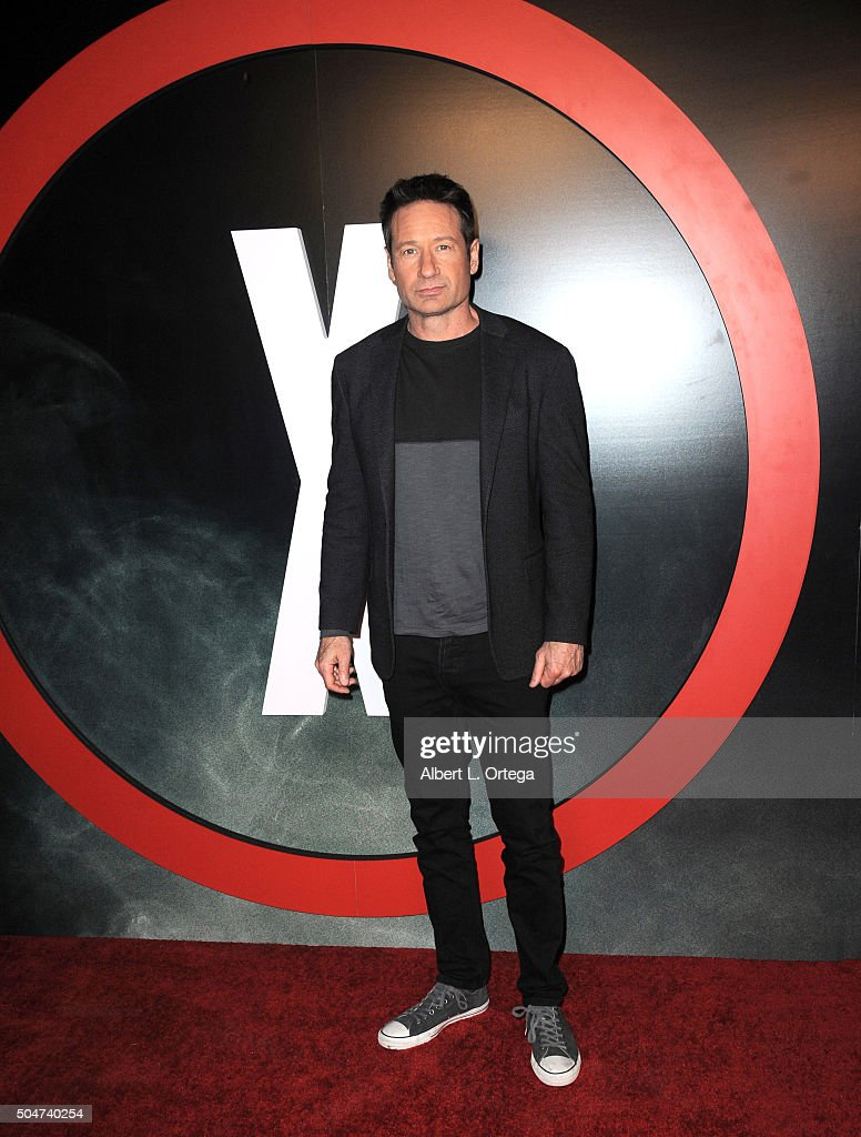 Actor David Duchovny arrives for the Premiere Of Fox's 'The XFiles' held at California Science Center on January 12 2016 in Los Angeles California