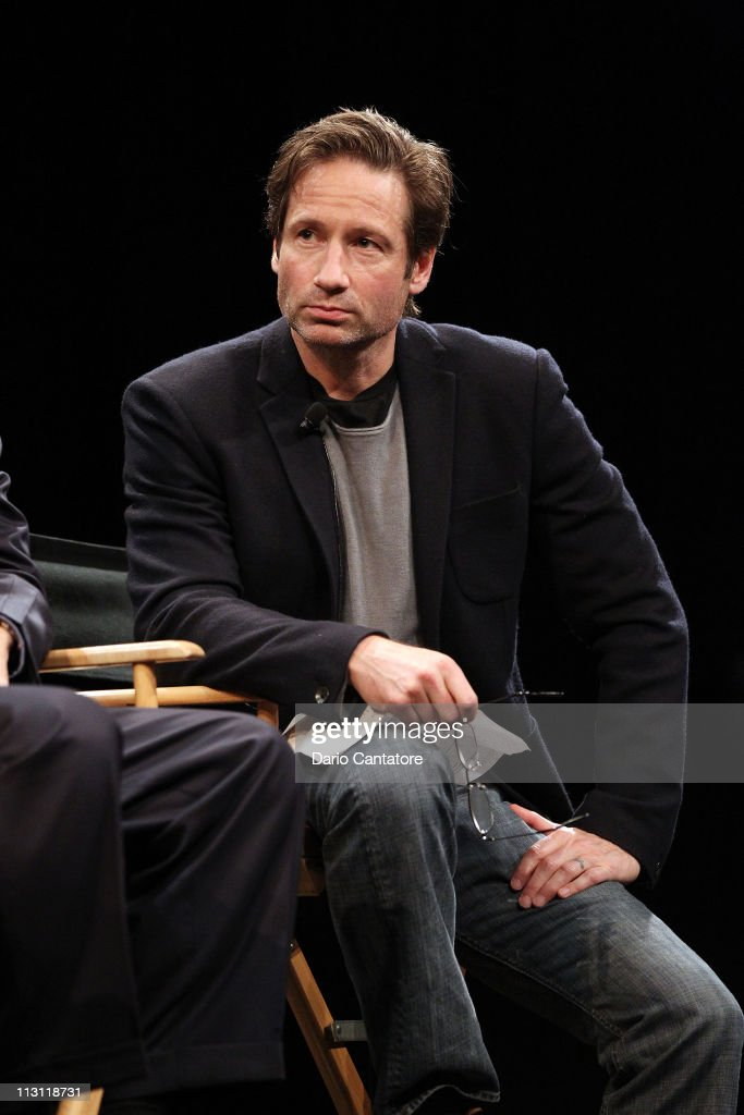 Actor <a gi-track='captionPersonalityLinkClicked' href=/galleries/search?phrase=David+Duchovny&family=editorial&specificpeople=201628 ng-click='$event.stopPropagation()'>David Duchovny</a> attends Tribeca Talks After The Movie: 'Revenge of the Electric Car' during the 2011 Tribeca Film Festival at the SVA Theater on April 23, 2011 in New York City.