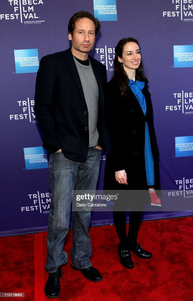Actor <a gi-track='captionPersonalityLinkClicked' href=/galleries/search?phrase=David+Duchovny&family=editorial&specificpeople=201628 ng-click='$event.stopPropagation()'>David Duchovny</a> (L) attends Tribeca Talks After The Movie: 'Revenge of the Electric Car' during the 2011 Tribeca Film Festival at the SVA Theater on April 23, 2011 in New York City.