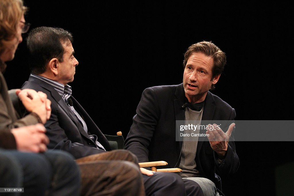 Actor David Duchovny speaks during the Tribeca Talks After The Movie: 'Revenge of the Electric Car' during the 2011 Tribeca Film Festival at the SVA Theater on April 23, 2011 in New York City.