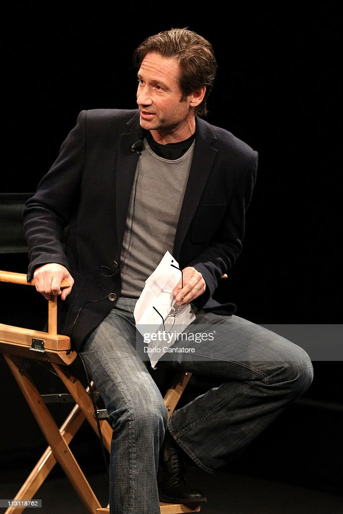 Actor <a gi-track='captionPersonalityLinkClicked' href=/galleries/search?phrase=David+Duchovny&family=editorial&specificpeople=201628 ng-click='$event.stopPropagation()'>David Duchovny</a> speaks during the Tribeca Talks After The Movie: 'Revenge of the Electric Car' during the 2011 Tribeca Film Festival at the SVA Theater on April 23, 2011 in New York City.