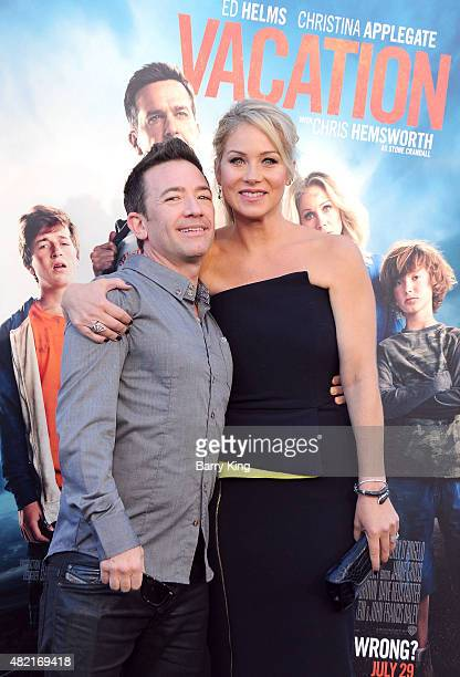 Actor David Faustino and actress Christina Applegate arrive at the Premiere Of Warner Bros 'Vacation' at Regency Village Theatre on July 27 2015 in...