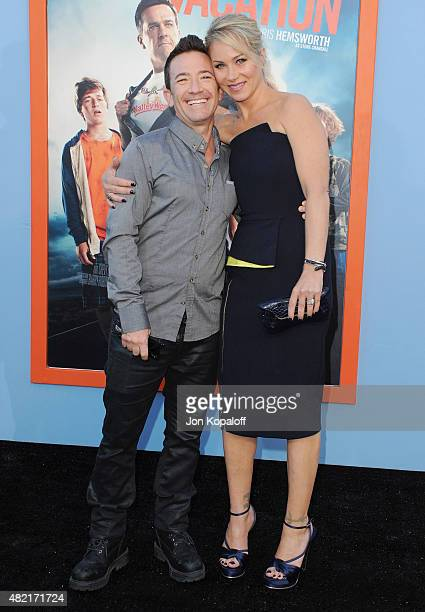 Actor David Faustino and actress Christina Applegate arrive at the Los Angeles Premiere 'Vacation' at Regency Village Theatre on July 27 2015 in...