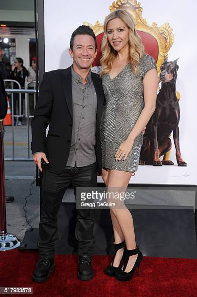Actor David Faustino and Lindsay Bronson arrive at the premiere of USA Pictures' 'The Boss' at Regency Village Theatre on March 28 2016 in Westwood...
