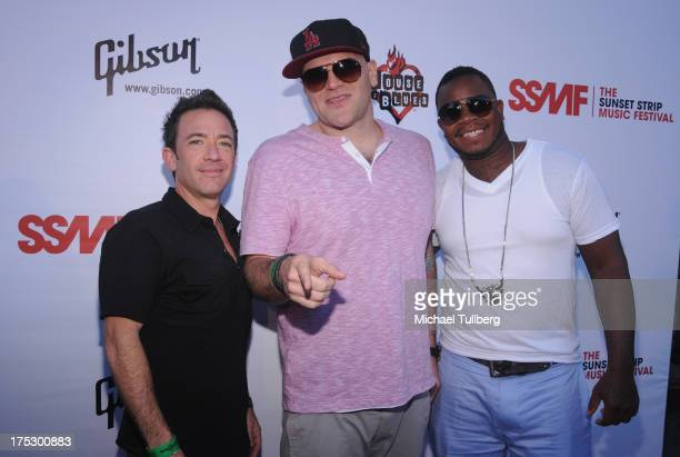 Actor David Faustino and musicians Patience Price and Farrell arrive at the 6th Annual Sunset Strip Music Festival's Launch Party honoring Joan Jett...