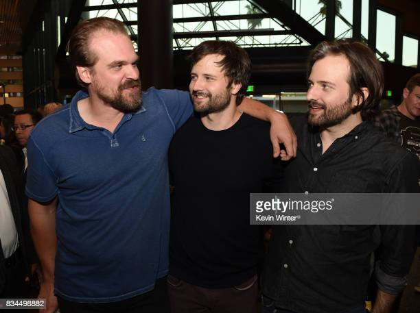 Actor David Harbour creators writers executive producers Ross Duffer and Matt Duffer arrive at a reception and qa for Netflix's 'Stranger Thing' at...