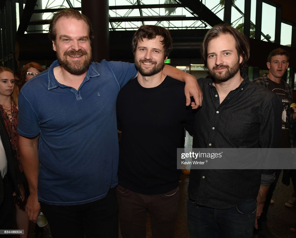 Actor David Harbour, creators, writers, executive producers Ross Duffer and Matt Duffer arrive at a reception and q&a for Netflix's 'Stranger Thing' at the Directors Guild on August 17, 2017 in Los Angeles, California.