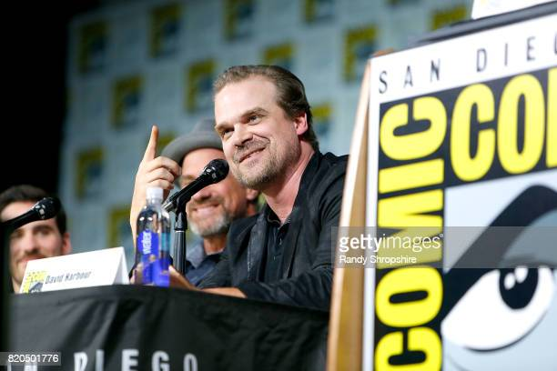 Actor David Harbour speaks on stage during Entertainment Weekly's 'Brave New Warriors' Panel at San Diego ComicCon 2017 at San Diego Convention...