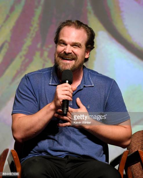Actor David Harbour speaks onstage at a reception and qa for Netflix's 'Stranger Thing' at the Directors Guild on August 17 2017 in Los Angeles...