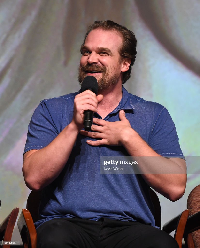 Actor David Harbour speaks onstage at a reception and q&a for Netflix's 'Stranger Thing' at the Directors Guild on August 17, 2017 in Los Angeles, California.