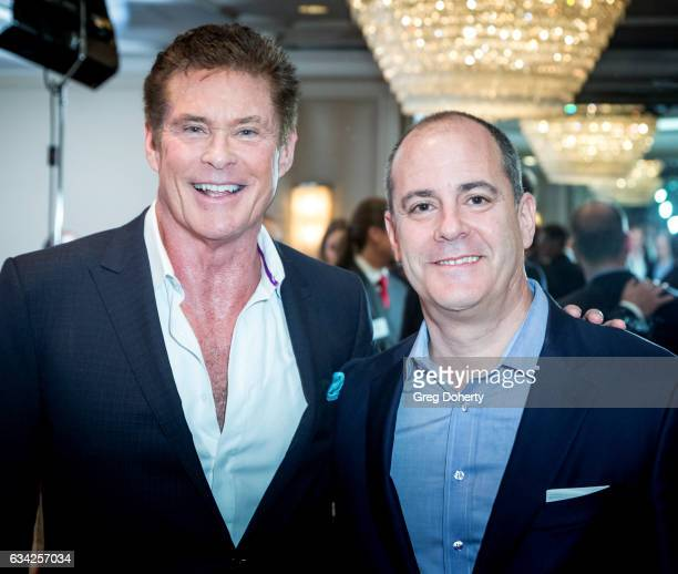 Actor David Hasselhoff and David Nevins President and CEO Showtime Networks Inc attend The Hollywood Radio And Television Society Presents The...