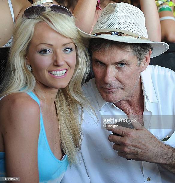 Actor David Hasselhoff and guest attend day 3 of the 2011 Coachella Music Festival at The Empire Polo Club on April 17 2011 in Indio California