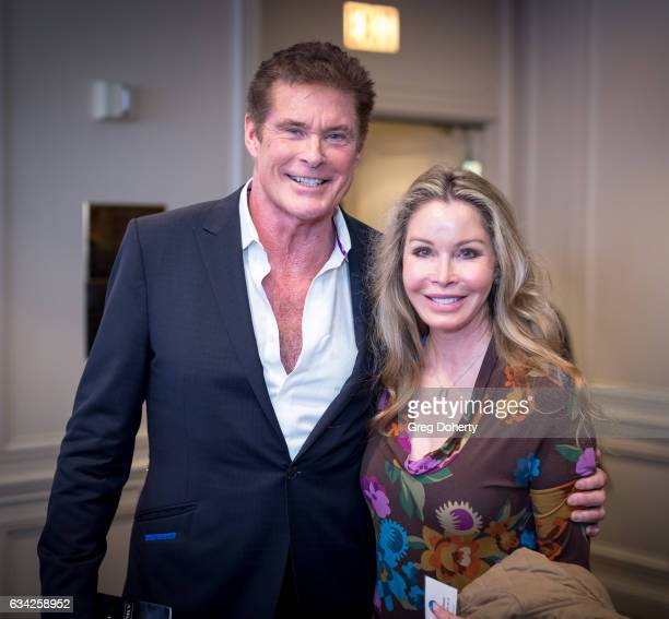 Actor David Hasselhoff and Leigh Brecheen attend The Hollywood Radio And Television Society Presents The Newsmaker Luncheon Series A Moment In Time...