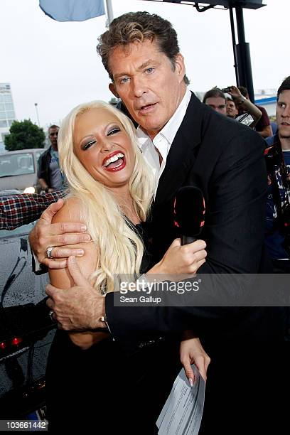 Actor David Hasselhoff and television presenter Daniela Katzenberger attend The Dome 55 on August 27 2010 in Hannover Germany