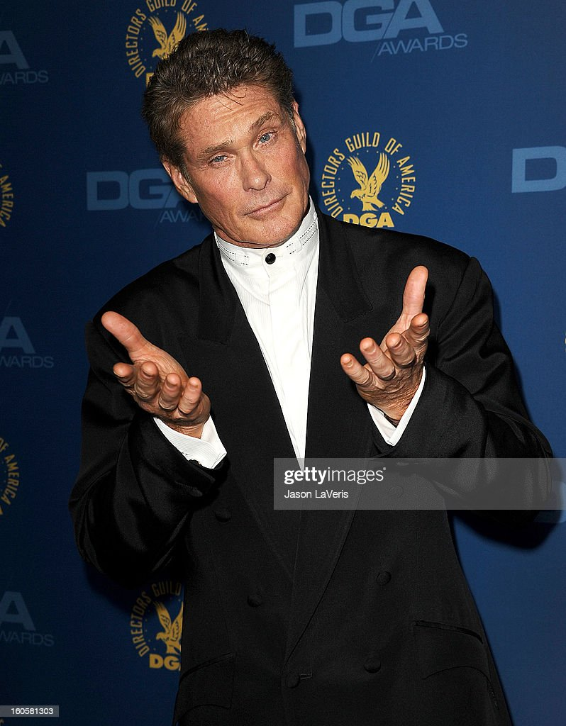 Actor David Hasselhoff attends the 65th annual Directors Guild Of America Awards at The Ray Dolby Ballroom at Hollywood & Highland Center on February 2, 2013 in Hollywood, California.