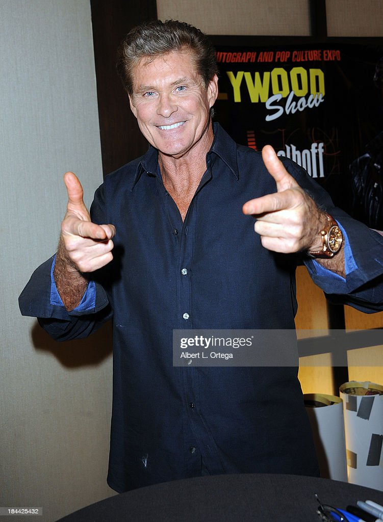 Actor <a gi-track='captionPersonalityLinkClicked' href=/galleries/search?phrase=David+Hasselhoff&family=editorial&specificpeople=209380 ng-click='$event.stopPropagation()'>David Hasselhoff</a> attends The Hollywood Show held at The Westin Los Angeles Airport Hotel on Saturday October 5, 2013 in Los Angeles, California.