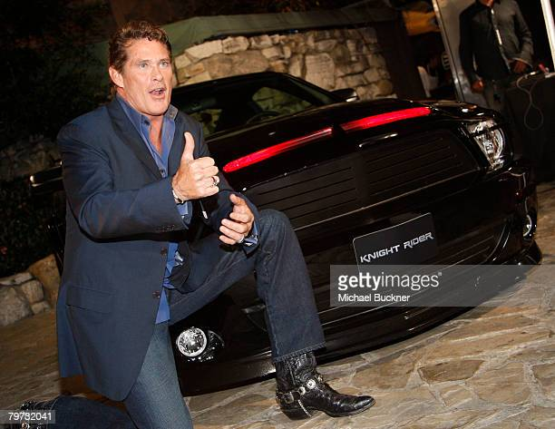 Actor David Hasselhoff attends the premiere of NBC's 'Knight Rider' at the Playboy Mansion February 12 2008 in Los Angeles California