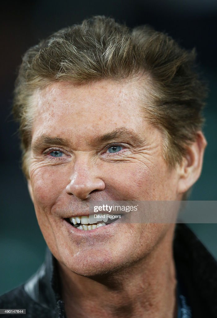 Actor <a gi-track='captionPersonalityLinkClicked' href=/galleries/search?phrase=David+Hasselhoff&family=editorial&specificpeople=209380 ng-click='$event.stopPropagation()'>David Hasselhoff</a> during the 2015 Rugby World Cup Pool A match between England and Wales at Twickenham Stadium on September 26, 2015 in London, United Kingdom.