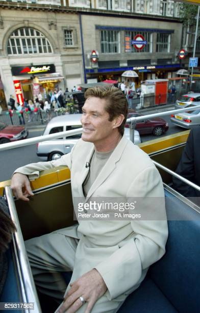 US actor David Hasselhoff enjoys a ride on an open top bus through Holborn in central London after leaving the preshow party for Bat Boy the Musical...