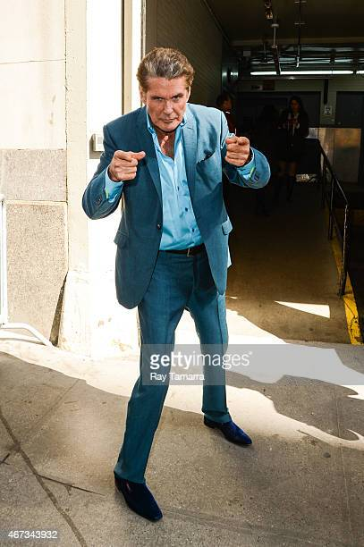 Actor David Hasselhoff enters the 'HuffPost Live' taping at the Huffington Post Studios on March 23 2015 in New York City