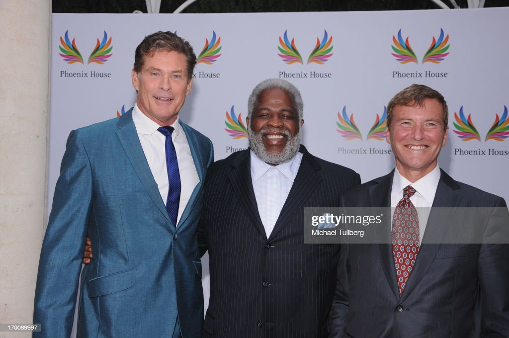 Actor David Hasselhoff, former NFL great <a gi-track='captionPersonalityLinkClicked' href=/galleries/search?phrase=Earl+Campbell&family=editorial&specificpeople=570909 ng-click='$event.stopPropagation()'>Earl Campbell</a> and sports agent <a gi-track='captionPersonalityLinkClicked' href=/galleries/search?phrase=Leigh+Steinberg&family=editorial&specificpeople=221448 ng-click='$event.stopPropagation()'>Leigh Steinberg</a> attend the 10th Annual Phoenix House Triumph For Teens Awards Gala at Beverly Hills Hotel on June 6, 2013 in Beverly Hills, California.