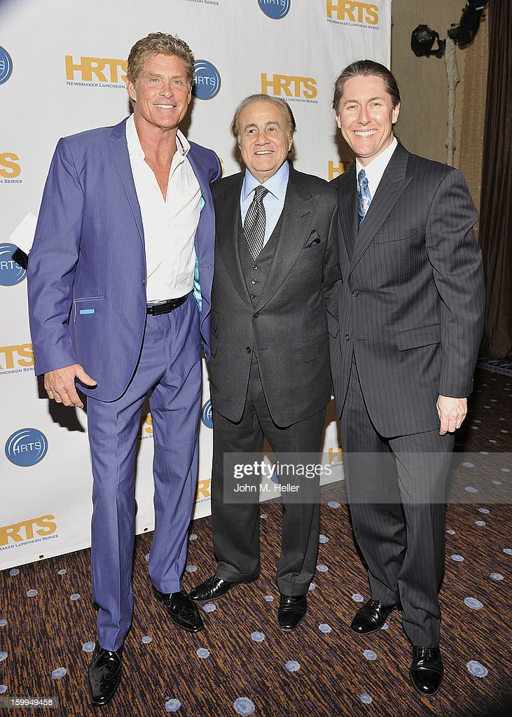Actor David Hasselhoff, Larry Thompson and Head of Development of the Larry Thompson Organization Robert Endara attend the Hollywood Radio & Television Society Newsmaker Luncheon Series at The Beverly Hilton Hotel on January 23, 2013 in Beverly Hills, California.