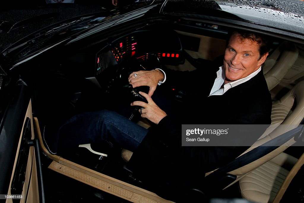 Actor David Hasselhoff sits in his KITT car from the seies 'Knight Rider' while attending The Dome 55 on August 27, 2010 in Hannover, Germany.
