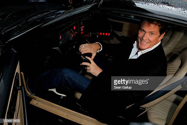 Actor David Hasselhoff sits in his KITT car from the seies 'Knight Rider' while attending The Dome 55 on August 27 2010 in Hannover Germany