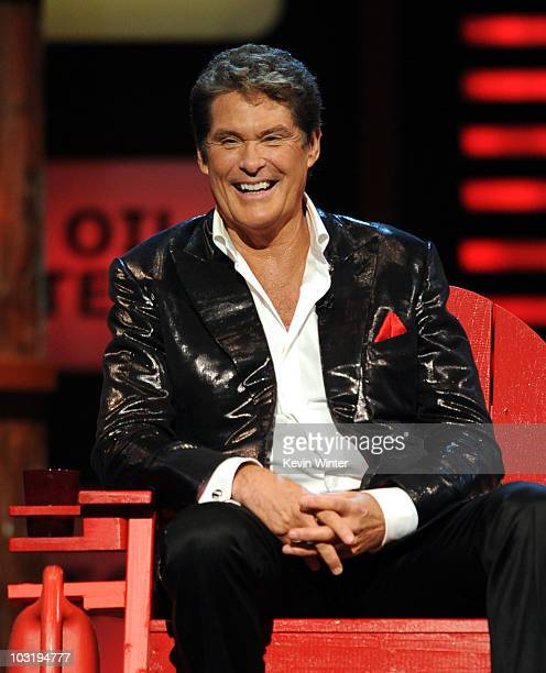 Actor David Hasselhoff sits onstage at the Comedy Central Roast Of David Hasselhoff held at Sony Pictures Studios on August 1 2010 in Culver City...