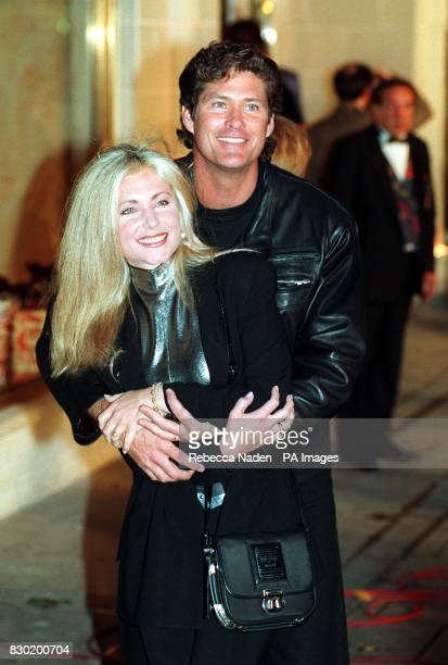 Actor David Hasselhoff who stars in the telveison programme Bay Watch and Pamela Bach arrive to attend the launch of the Planet Hollywood restaurant...
