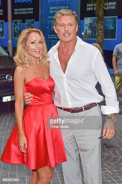 US actor David Hasselhoff with his partner Hayley Roberts during the Baywatch European Premiere Party on May 31 2017 in Berlin Germany