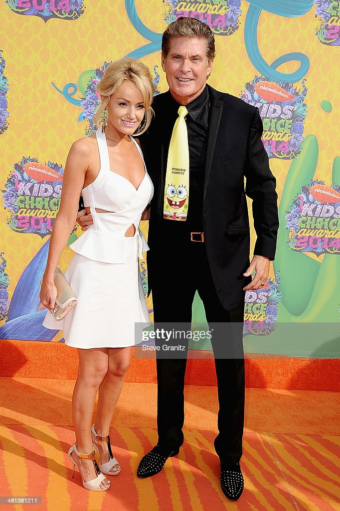 Actor David Hasseloff (R) and Hayley Roberts attend Nickelodeon's 27th Annual Kids' Choice Awards held at USC Galen Center on March 29, 2014 in Los Angeles, California.