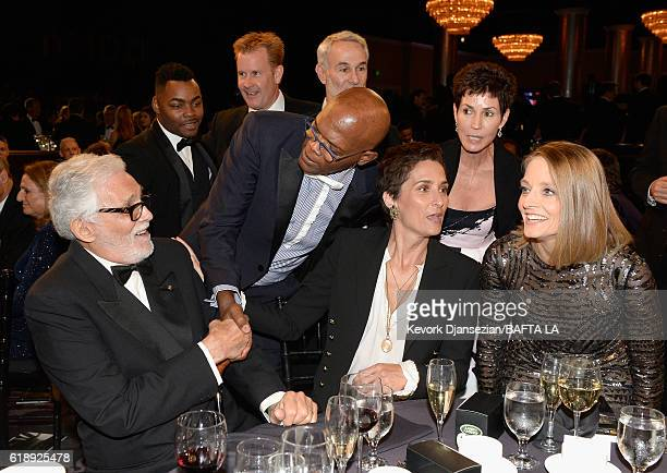 Actor David Hedison honoree Samuel L Jackson photographer/director Alexandra Hedison and honoree Jodie Foster attend the 2016 AMD British Academy...