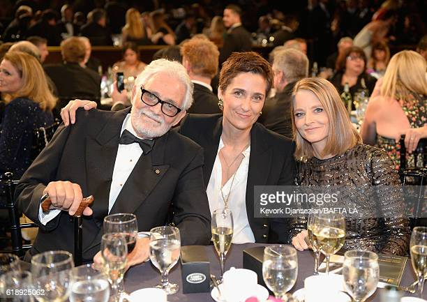 Actor David Hedison photographer/director Alexandra Hedison and honoree Jodie Foster attend the 2016 AMD British Academy Britannia Awards presented...