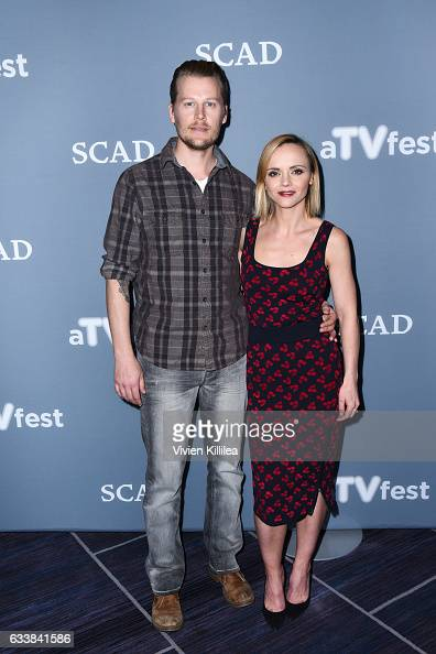 Actor David Hoflin and Executive Producer Actress Christina Ricci attend a press junket for 'Z' on Day Three of the aTVfest 2017 presented by SCAD on...