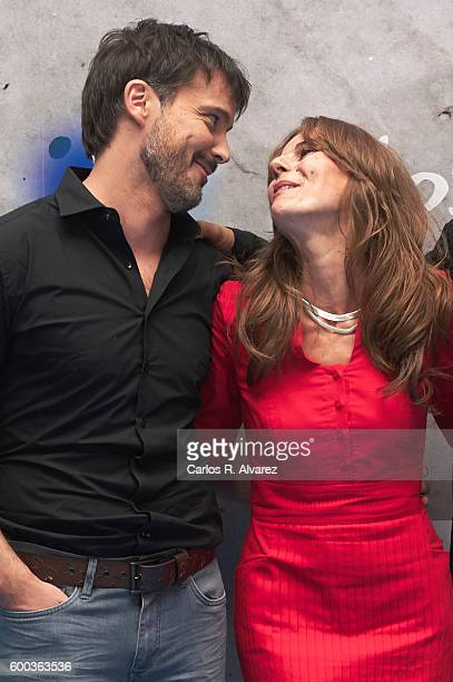 Actor David Jenner and actress Miryam Gallego attend 'Aguila Roja' photocall at the Escoriaza Esquivel Palace during FesTVal 2016 Day 4 on September...
