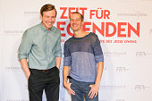 Actor David Kross and Actor Barnaby Metschurat attend the premiere of the film 'Zeit fuer Legenden Die unglaubliche Geschichte des Jesse Owens' at...