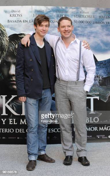 Actor David Kross and director Marco Kreuzpaintner attend a photocall for 'Krabat y el Molino del Diablo' at the Academia de Cine on January 25 2010...