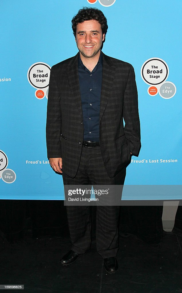 Actor <a gi-track='captionPersonalityLinkClicked' href=/galleries/search?phrase=David+Krumholtz&family=editorial&specificpeople=220284 ng-click='$event.stopPropagation()'>David Krumholtz</a> attends the opening night of 'Freud's Last Session' at The Broad Stage at the Santa Monica College Performing Arts Center on January 16, 2013 in Santa Monica, California.