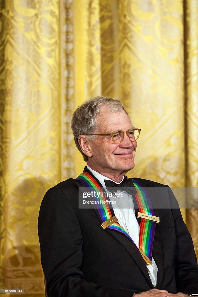 Actor <a gi-track='captionPersonalityLinkClicked' href=/galleries/search?phrase=David+Letterman+-+Television+Host&family=editorial&specificpeople=171322 ng-click='$event.stopPropagation()'>David Letterman</a> attends the Kennedy Center Honors reception at the White House on December 2, 2012 in Washington, DC. The Kennedy Center Honors recognized seven individuals - Buddy Guy, Dustin Hoffman, <a gi-track='captionPersonalityLinkClicked' href=/galleries/search?phrase=David+Letterman+-+Television+Host&family=editorial&specificpeople=171322 ng-click='$event.stopPropagation()'>David Letterman</a>, Natalia Makarova, John Paul Jones, Jimmy Page, and Robert Plant - for their lifetime contributions to American culture through the performing arts.