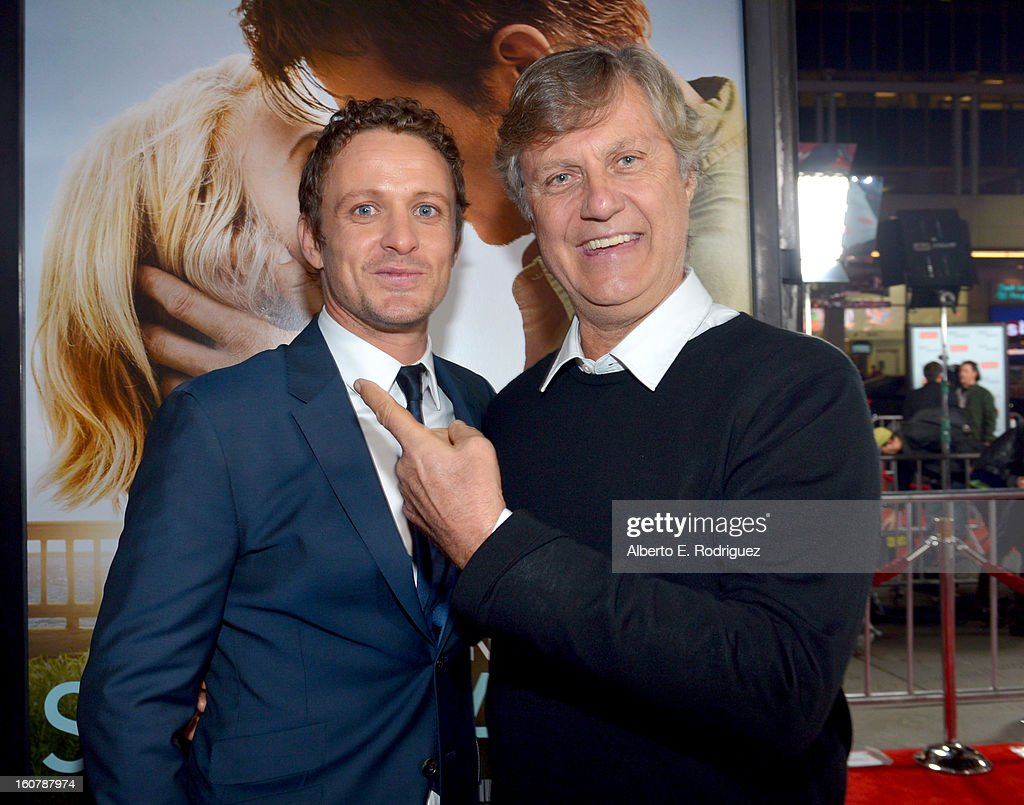 Actor David Lyons (L) and director <a gi-track='captionPersonalityLinkClicked' href=/galleries/search?phrase=Lasse+Hallstrom&family=editorial&specificpeople=768265 ng-click='$event.stopPropagation()'>Lasse Hallstrom</a> arrive at the premiere of Relativity Media's 'Safe Haven' at TCL Chinese Theatre on February 5, 2013 in Hollywood, California.