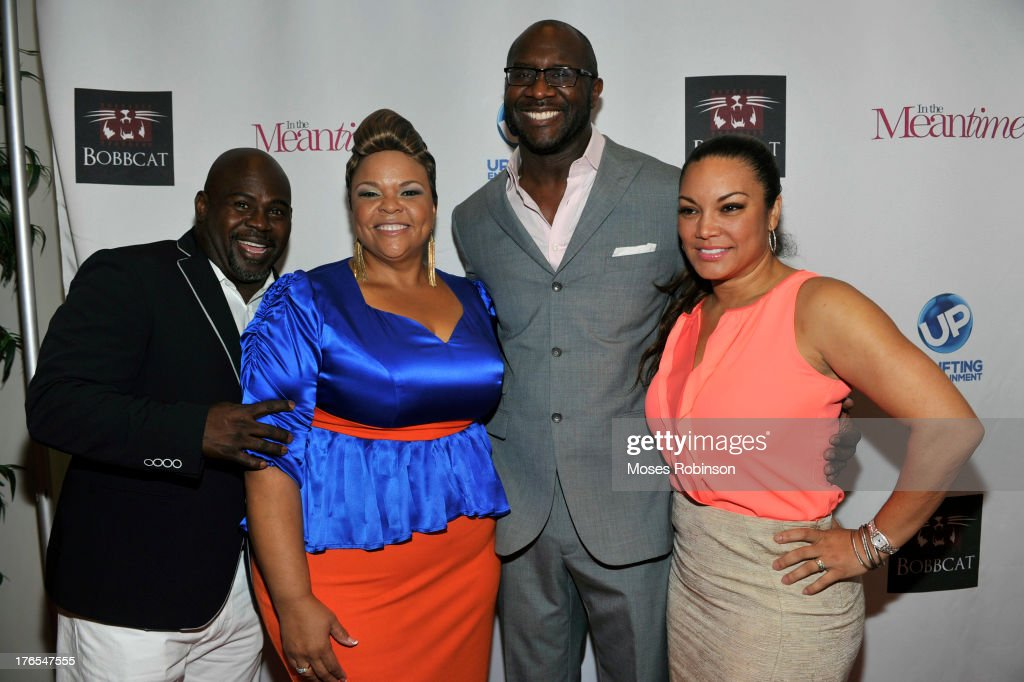 Actor David Mann, actress Tamela Mann, director/producer Roger Bobb and Egypy Sherrod attend the premiere of 'In the Meantime' at the Woodruff Arts Center on August 14, 2013 in Atlanta, Georgia.