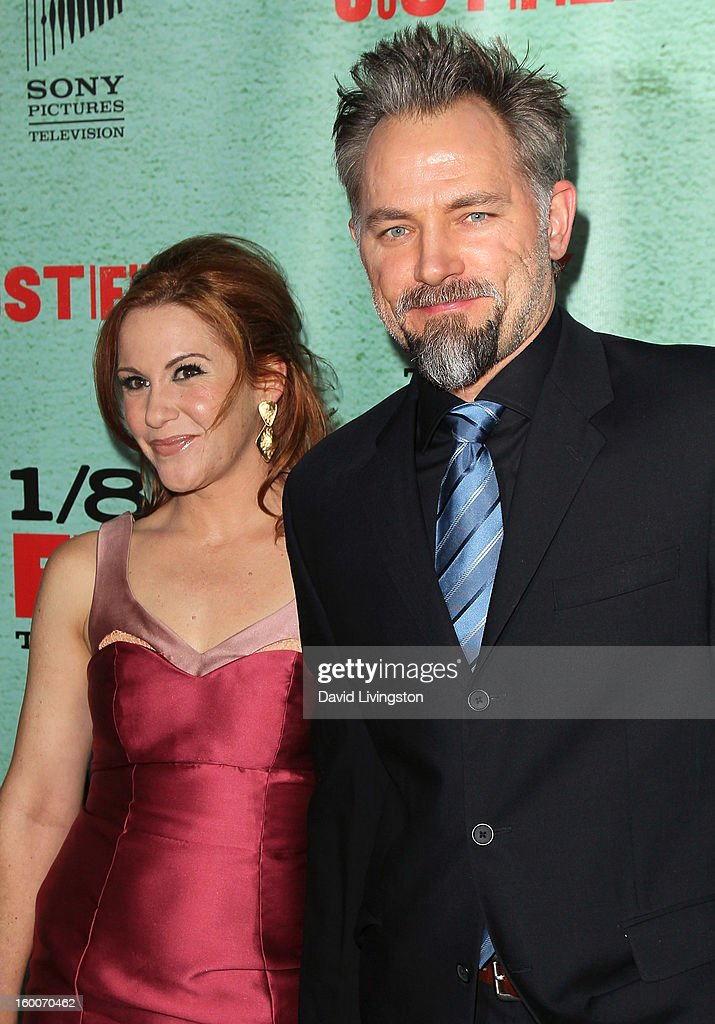 Actor David Meunier (R) attends the premiere of FX's 'Justified' Season 4 at the Paramount Theater on the Paramount Studios lot on January 5, 2013 in Hollywood, California.