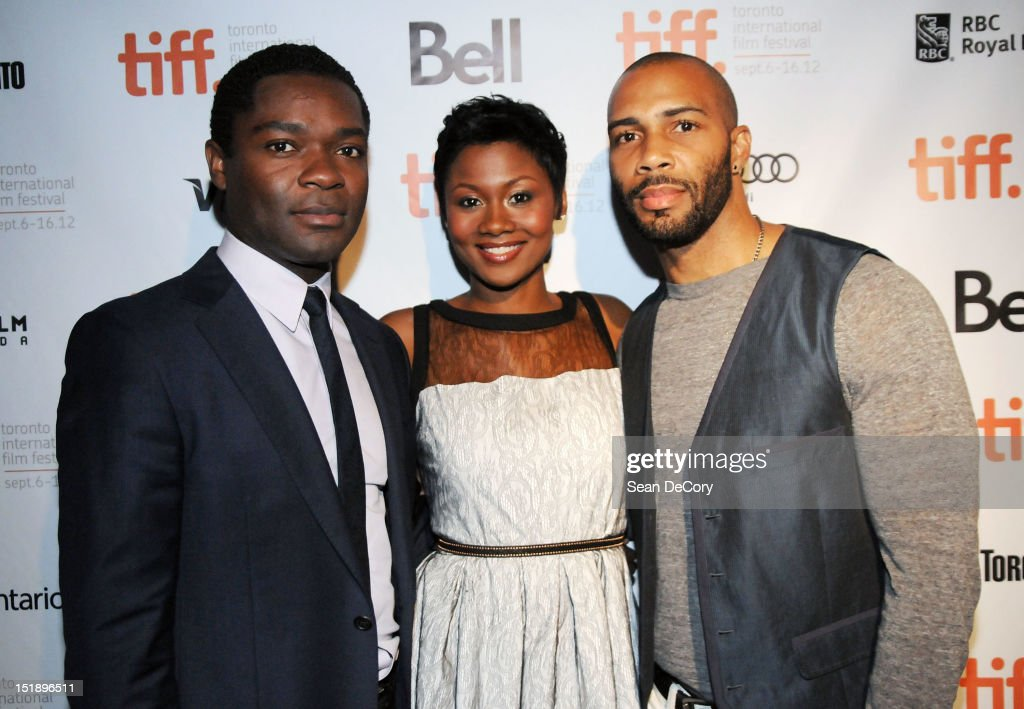 Actor David Oyelowo, actress Emayatzy Corinealdi and actor Omari Hardwick attend 'Middle Of Nowhere' premiere during the 2012 Toronto International Film Festival at the Scotiabank Theatre on September 12, 2012 in Toronto, Canada.