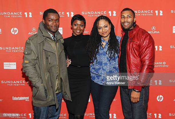 Actor David Oyelowo actress Emayatzy E Corinealdi filmmaker Ava DuVernay and actor Omari Hardwick attend the 'Middle of Nowhere' premiere held at...