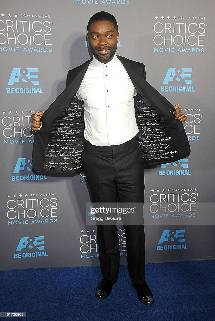 Actor <a gi-track='captionPersonalityLinkClicked' href=/galleries/search?phrase=David+Oyelowo&family=editorial&specificpeople=633075 ng-click='$event.stopPropagation()'>David Oyelowo</a> arrives at the 20th Annual Critics' Choice Movie Awards at Hollywood Palladium on January 15, 2015 in Los Angeles, California.
