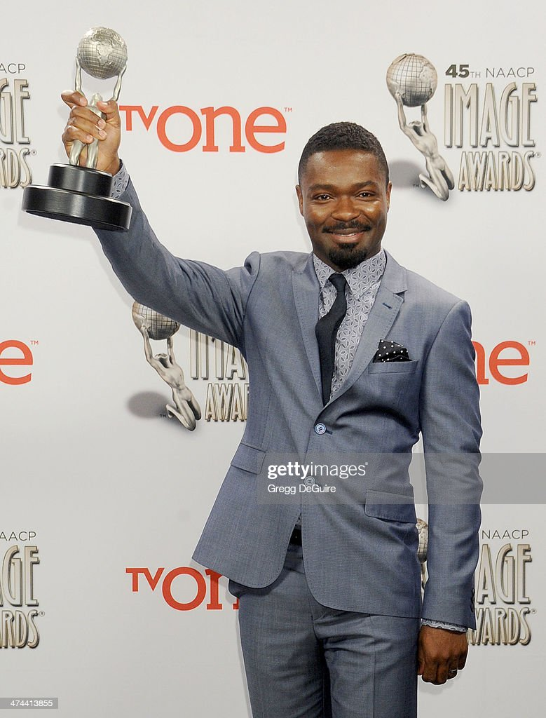 Actor <a gi-track='captionPersonalityLinkClicked' href=/galleries/search?phrase=David+Oyelowo&family=editorial&specificpeople=633075 ng-click='$event.stopPropagation()'>David Oyelowo</a> poses in the press room at the 45th NAACP Image Awards at Pasadena Civic Auditorium on February 22, 2014 in Pasadena, California.