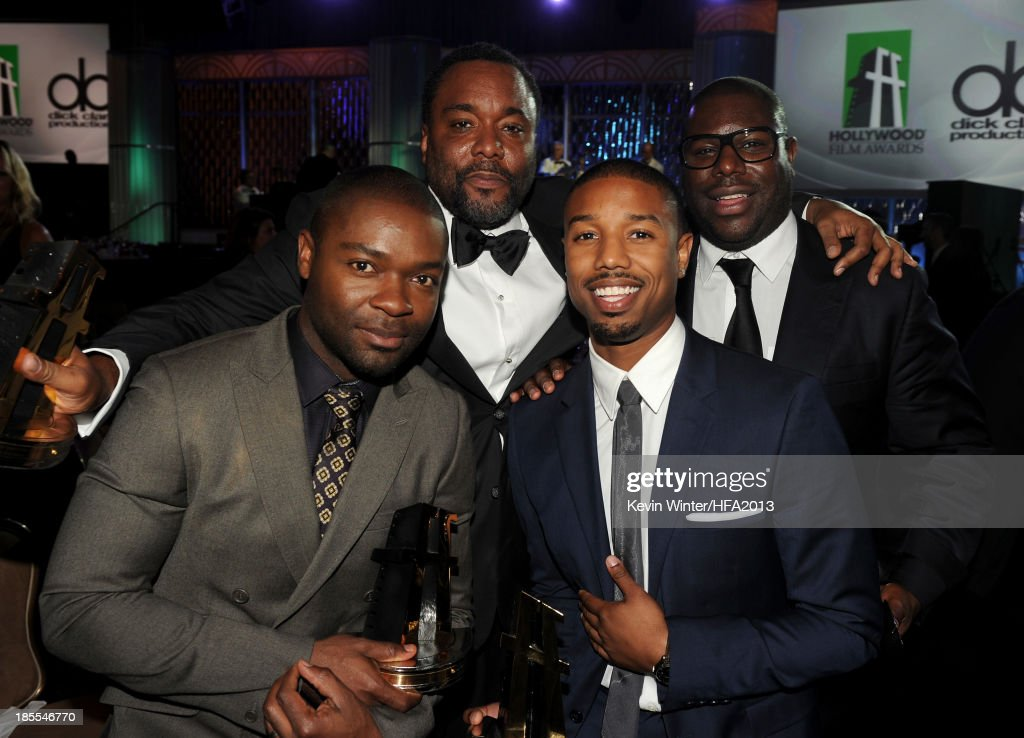 Actor David Oyelowo, recipient of the Hollywood Spotlight Award for 'The Butler', Lee Daniels, recipient of the Hollywood Directors Award for 'The Butler,' Michael B. Jordan, recipient of the Hollywood Spotlight Award for 'Fruitvale Station,' and Steve McQueen, recipient of the Hollywood Breakout Director Award for '12 Years a Slave' pose together during the 17th annual Hollywood Film Awards at The Beverly Hilton Hotel on October 21, 2013 in Beverly Hills, California.