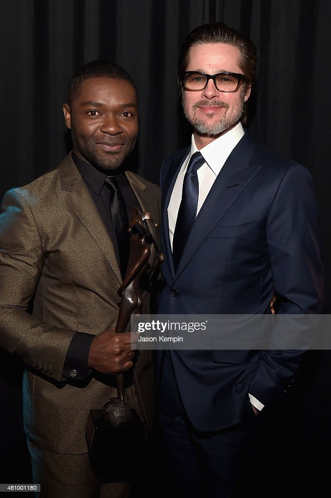 Actor David Oyelowo winner of the Breakthrough Performance Award and actor/producer Brad Pitt attend the 26th Annual Palm Springs International Film...