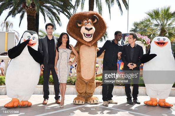 Actor David Schwimmer actress Jada Pinkett Smith actor Chris Rock and actor Ben Stiller attend 'Madagascar 3' Photo Op during the 65th Annual Cannes...